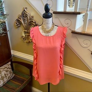 Adrienne coral cascading ruffle tunic blouse